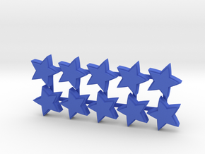Boardgame counter - Star (x10) in Blue Strong & Flexible Polished