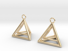 Pyramid triangle earrings type 9 in 14k Gold Plated