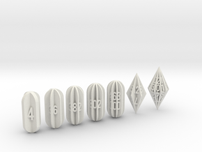 7 Radial Fin Dice Set in White Strong & Flexible