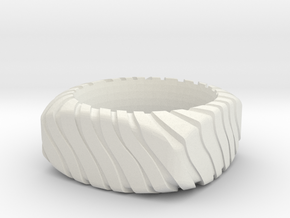 PILLOW CARVED OUTER RING SIZE 6.5 WIDE in White Strong & Flexible