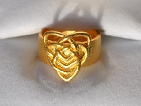 Celtic Mother's Knot Ring Size 7 in Matte Gold Steel