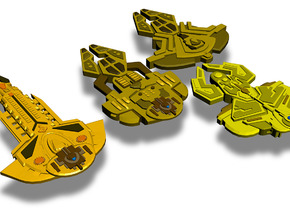 Cardassian Ships 4-Pack in White Strong & Flexible Polished