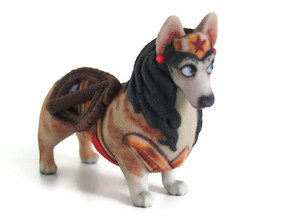 Wonder Woman Corgi in Full Color Sandstone