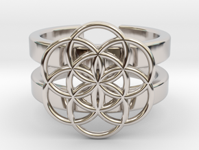 SEED OF LIFE DOUBLE BAND RING 8 in Rhodium Plated