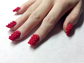 Cube Nails (Size 0)  in Red Strong & Flexible Polished