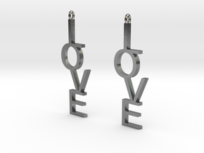 Love Earrings Large  in Polished Silver