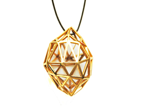 Pendant Diamond Rough in Matte Gold Steel