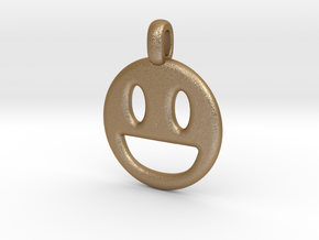 Happy Smile 3D printed jewelry pendant in Matte Gold Steel