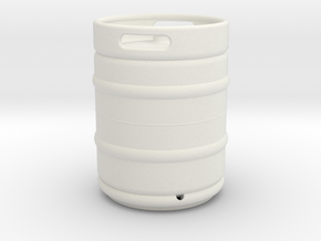 1/10 Scale Beer keg (standard) in White Strong & Flexible