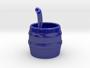 Barrel with Pipe in Gloss Cobalt Blue Porcelain