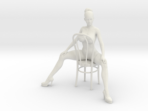 1/18 Girl Sitting Chair in White Strong & Flexible