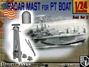 1-24 Radar Mast For PT BOAT in White Strong & Flexible Polished