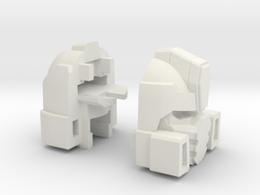 Fizzle Warrior Head for Combiner Tank in White Strong & Flexible