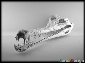 The Extinct Crocodile - 12cm Skull in White Strong & Flexible