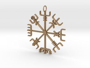 Vegvísir Pendant in Matte Gold Steel