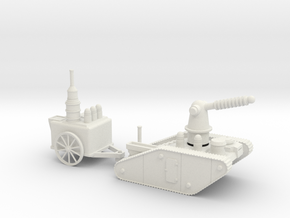 15mm AQMF EDISON / TESLA LIGHTNING TANK MK 1A in White Strong & Flexible