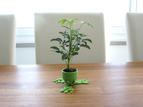 Small Plant Pot (short) in Green Strong & Flexible Polished