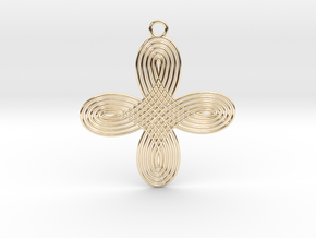 0576 Pendant - Motion Of Points Around Circle #002 in 14k Gold Plated