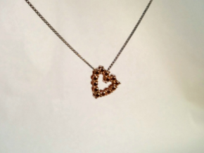 "Pendentif Heart, small ""diamonds"" in 14k Rose Gold Plated"