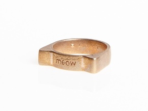 Meow ring 17mm in Raw Bronze