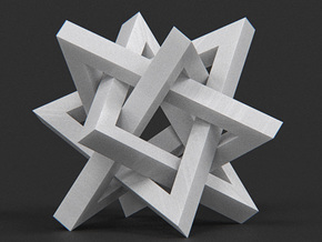 Orderly Tangle 02 - Four Hollow Triangles in White Strong & Flexible Polished