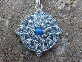 Celtic Four Point Pendant - No Gem in Polished Silver