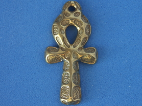Ankh Pendant - Textured in Polished Brass