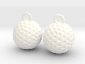Golf Ball Earrings - Dangle in White Strong & Flexible Polished