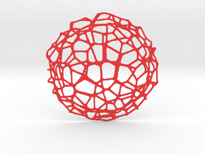 Drink coaster - Voronoi #9 (9 cm) in Red Strong & Flexible Polished