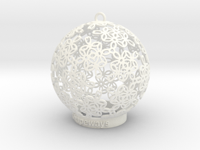 Flowers Ball Ornament in White Strong & Flexible Polished