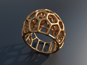 Cell Ring  (size 60, 19,1mm) in Polished Brass