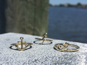 Troubled Waters Trio; Waves Ring (CUSTOM SIZE) in Polished Brass