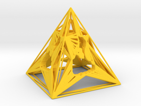 3D Printed Block Island Pyramid Tea Light in Yellow Strong & Flexible Polished
