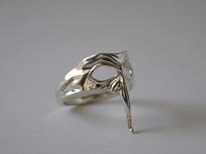 Mask Ring - Zanni - Size 6.5 in Polished Silver
