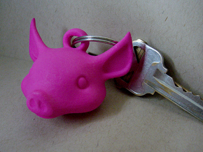 Pig key chain in Blue Strong & Flexible Polished