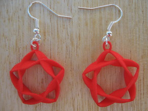 Twisted Star Earrings in Red Strong & Flexible Polished