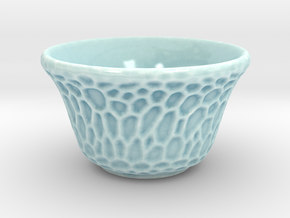 DRAW tea bowl - veined Voronoi in Gloss Celadon Green Porcelain