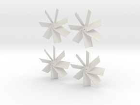 Four Propellers Left & Right 7-Blade and Left & Ri in White Strong & Flexible