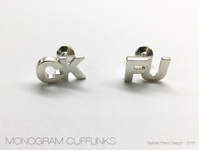 Monogram Cufflinks CK & FU in Raw Silver