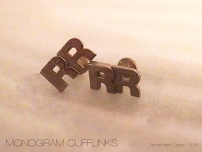 Monogram Cufflinks RR in Stainless Steel