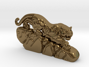Hunting Leopard in Polished Bronze