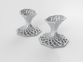 Diagrid Cufflinks - Octagon in Premium Silver