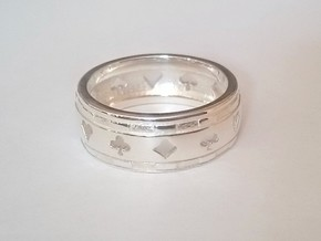 FR 63-US 10,5 Bague-Ring Poker Deluxe in Polished Silver