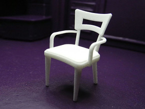 1:24 Dog Bone Chair with Arms in White Strong & Flexible