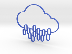 Rain Cloud Icon 3D in Blue Strong & Flexible Polished