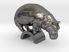 Hippo in Polished Nickel Steel