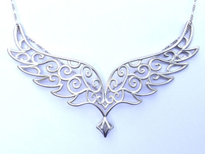 Angel Wings Pendant - precious metals in Raw Silver