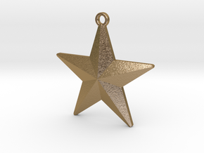 Christmas Tree Star in Polished Gold Steel
