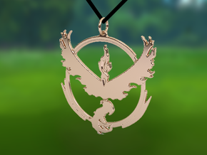 Team Valor Pendant - Pokemon Go - Moltres in 14k Rose Gold Plated