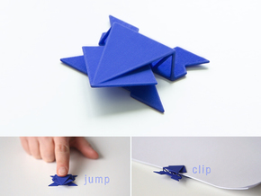 Frog clip, it jumps watch the video! in Blue Strong & Flexible Polished
